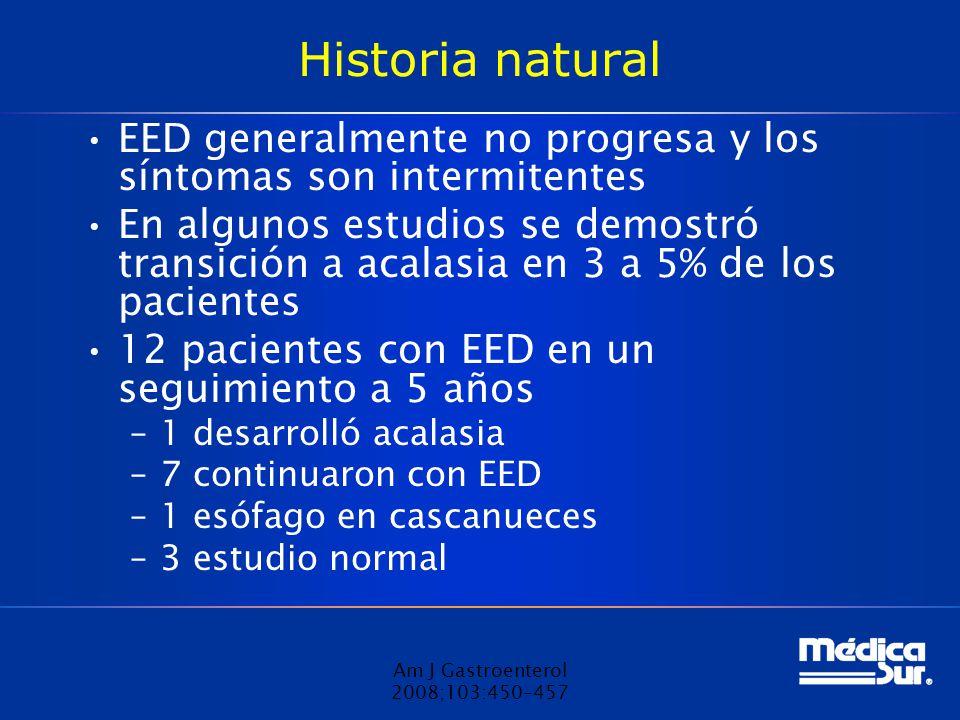 Historia natural EED generalmente no progresa y los síntomas son intermitentes.