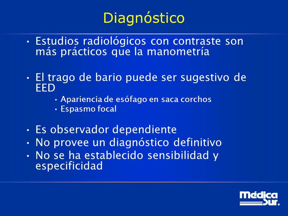 Diagnóstico Estudios radiológicos con contraste son más prácticos que la manometría. El trago de bario puede ser sugestivo de EED.