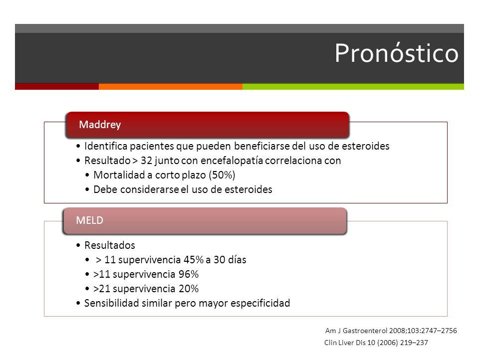 Pronóstico Identifica pacientes que pueden beneficiarse del uso de esteroides. Resultado > 32 junto con encefalopatía correlaciona con.