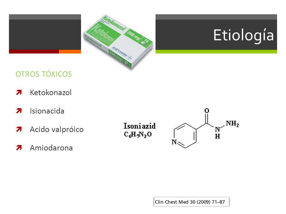 Etiología OTROS TÓXICOS Ketokonazol Isionacida Acido valpróico
