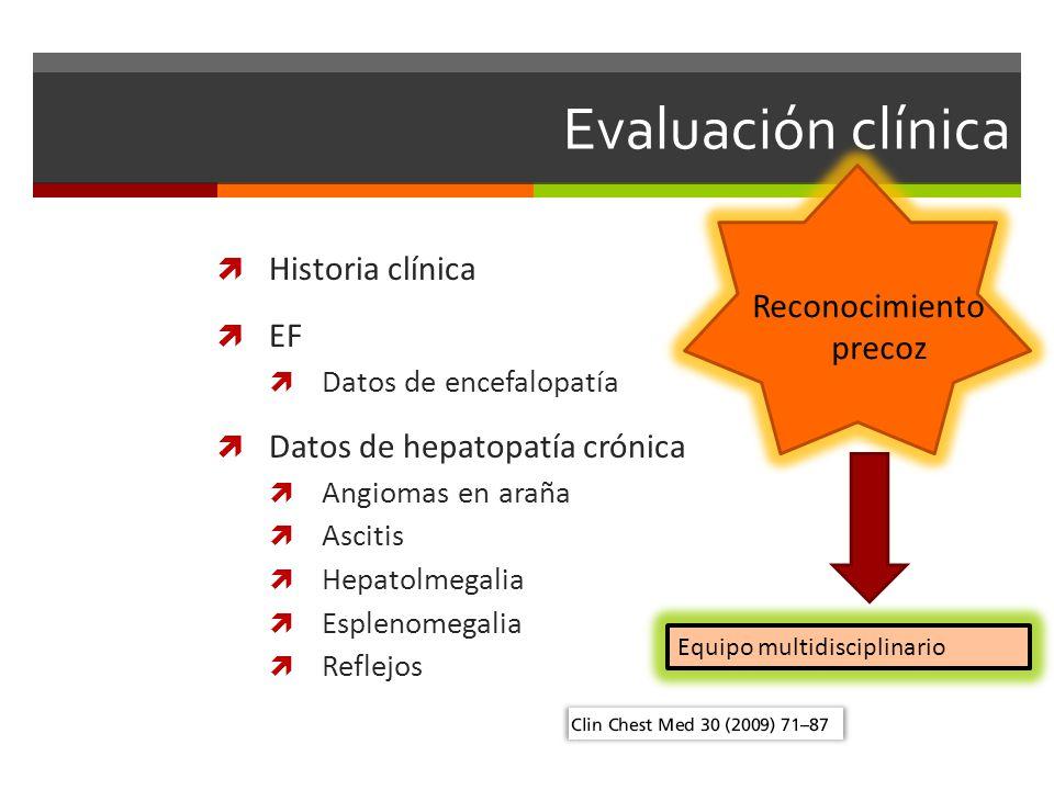 Evaluación clínica Historia clínica EF Reconocimiento precoz