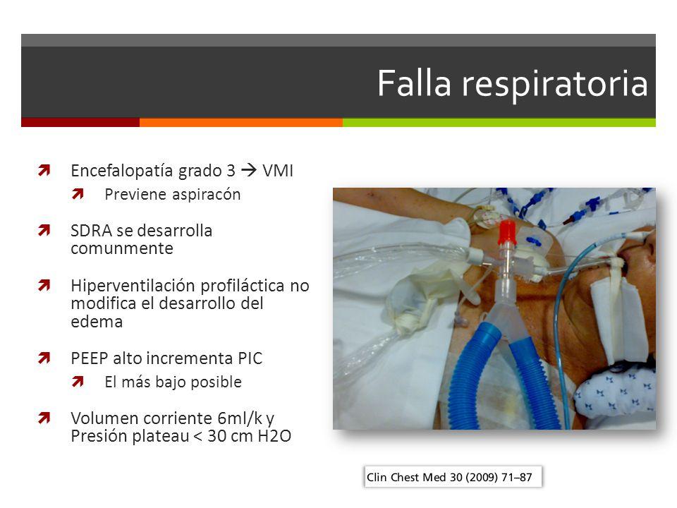 Falla respiratoria Encefalopatía grado 3  VMI