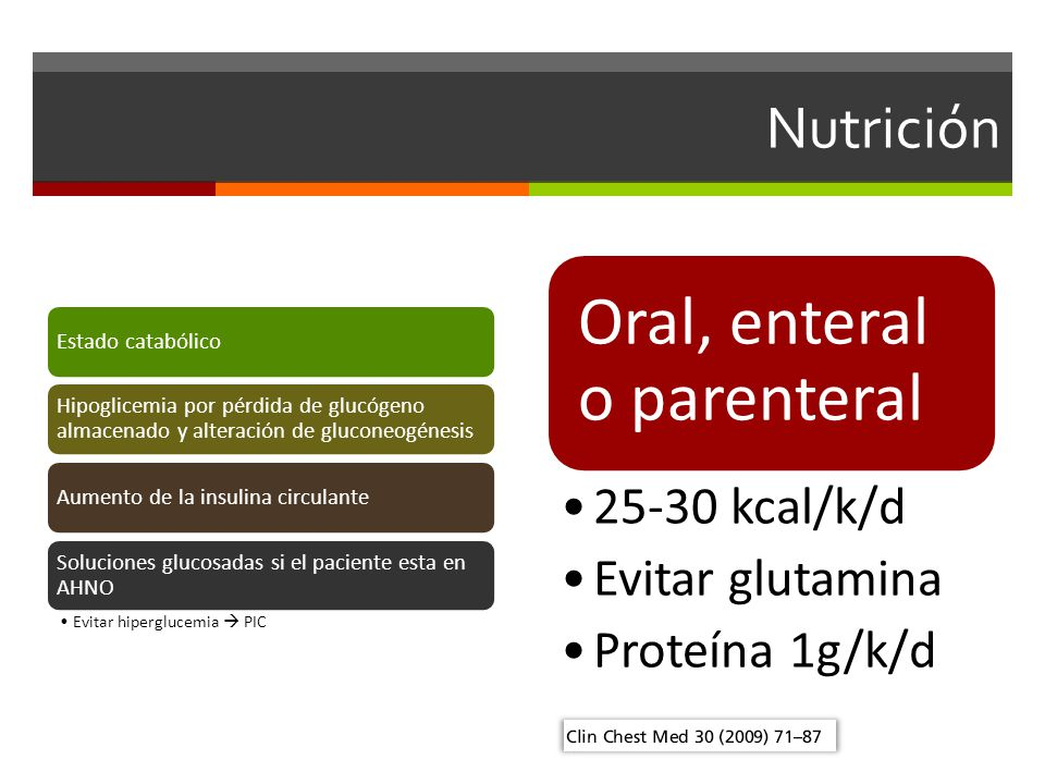 Oral, enteral o parenteral