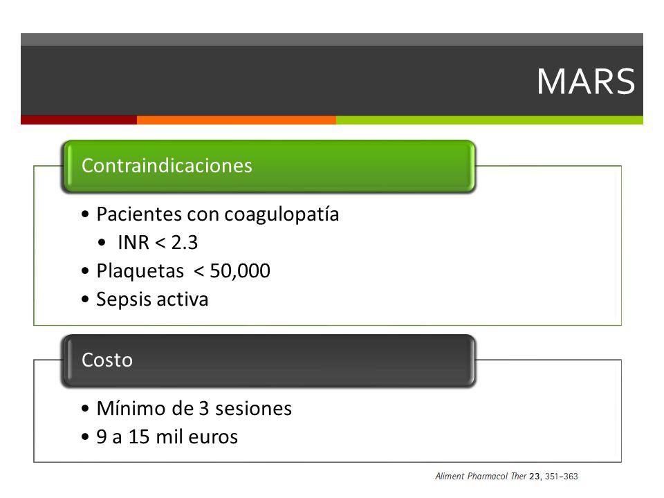 MARS Pacientes con coagulopatía INR < 2.3 Plaquetas < 50,000
