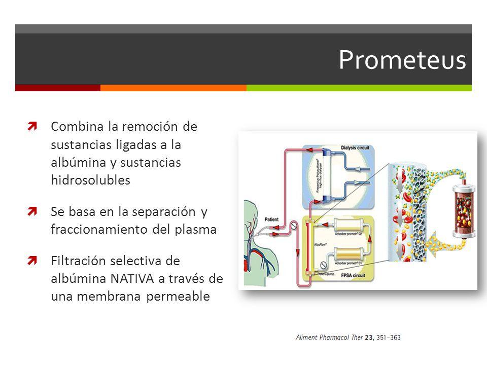 Prometeus Combina la remoción de sustancias ligadas a la albúmina y sustancias hidrosolubles.