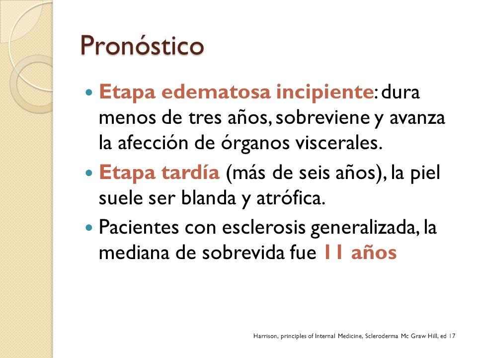Pronóstico Etapa edematosa incipiente: dura menos de tres años, sobreviene y avanza la afección de órganos viscerales.