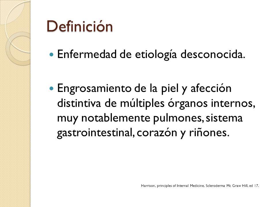 Definición Enfermedad de etiología desconocida.