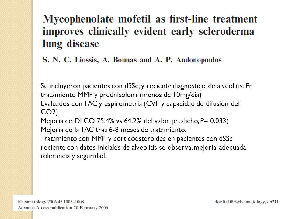 Se incluyeron pacientes con dSSc, y reciente diagnostico de alveolitis