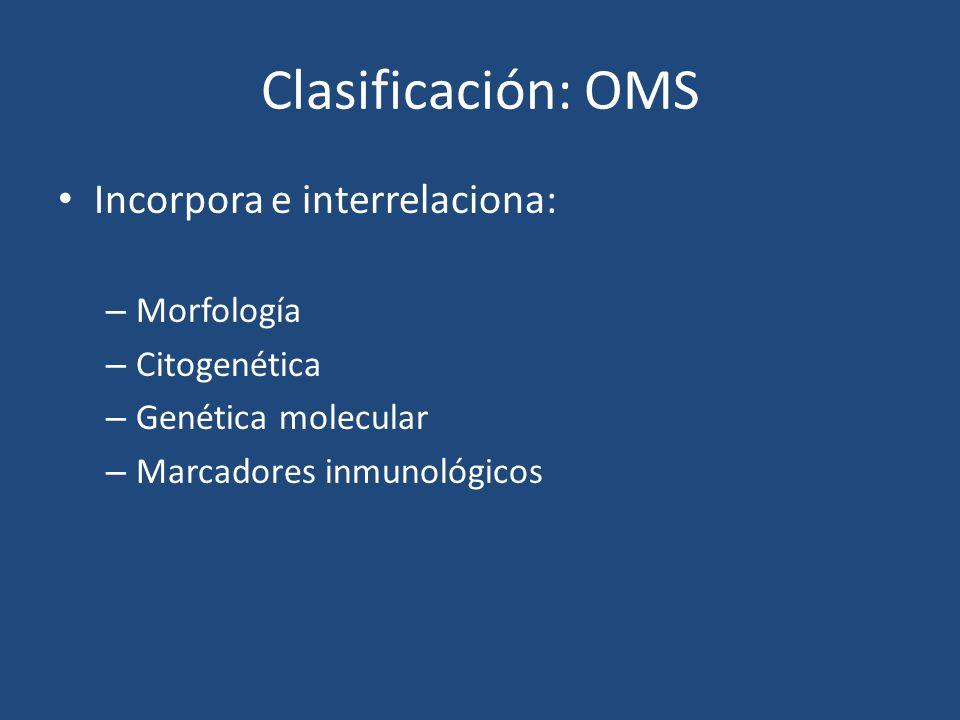 Clasificación: OMS Incorpora e interrelaciona: Morfología Citogenética