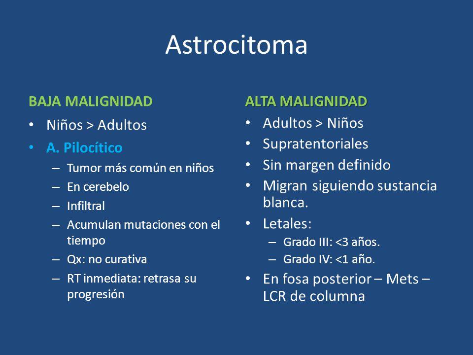 Astrocitoma BAJA MALIGNIDAD ALTA MALIGNIDAD Niños > Adultos