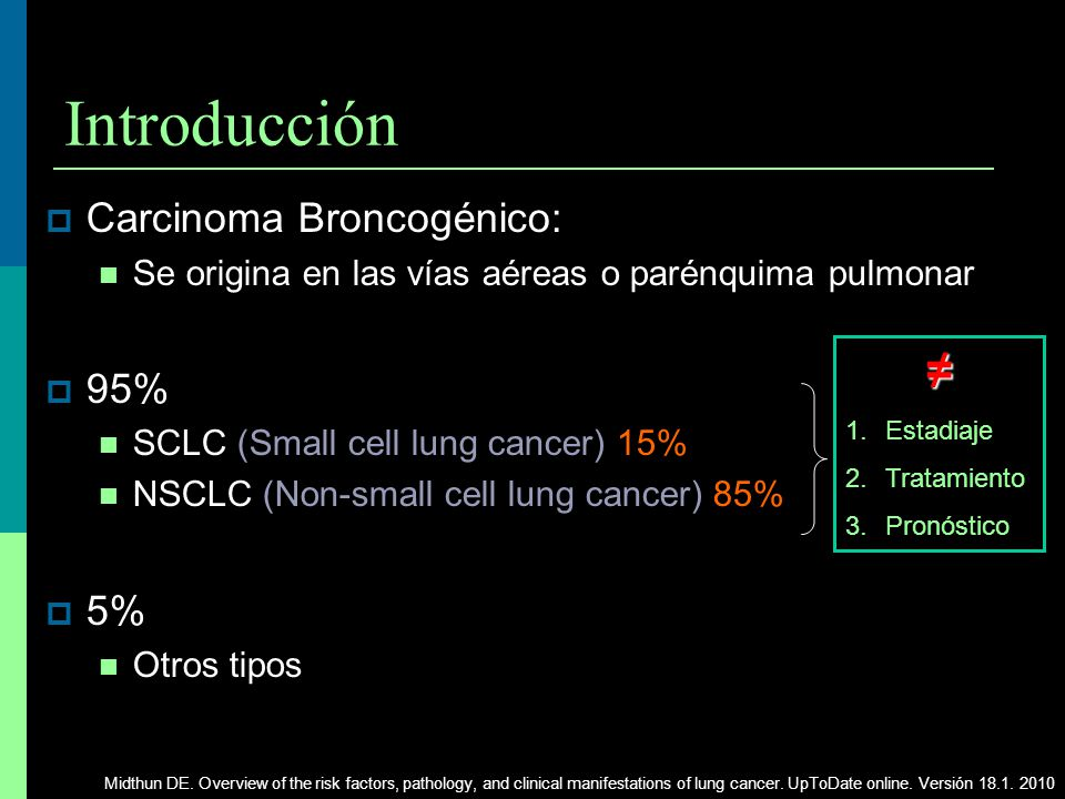 Introducción ≠ Carcinoma Broncogénico: 95% 5%