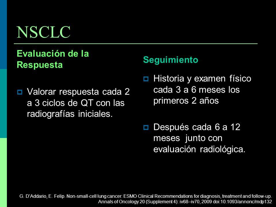 NSCLC Evaluación de la Respuesta Seguimiento