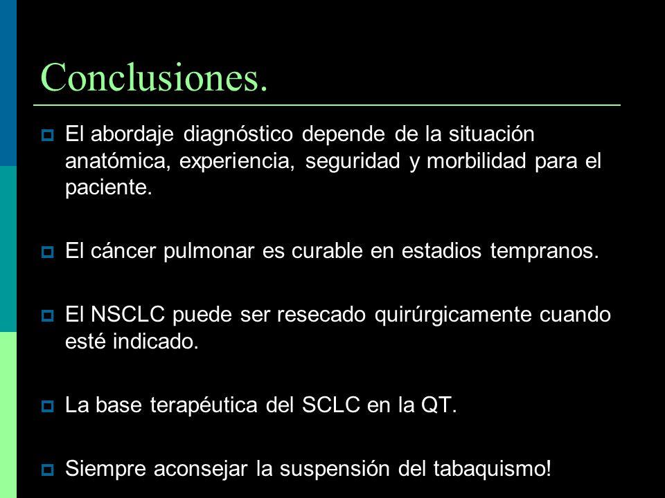 Conclusiones. El abordaje diagnóstico depende de la situación anatómica, experiencia, seguridad y morbilidad para el paciente.