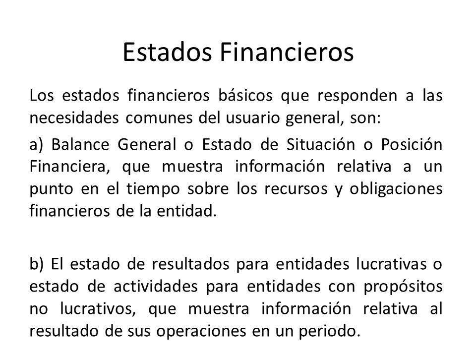 Estados Financieros Los estados financieros básicos que responden a las necesidades comunes del usuario general, son: