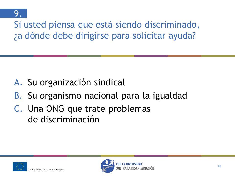 9. Si usted piensa que está siendo discriminado, ¿a dónde debe dirigirse para solicitar ayuda