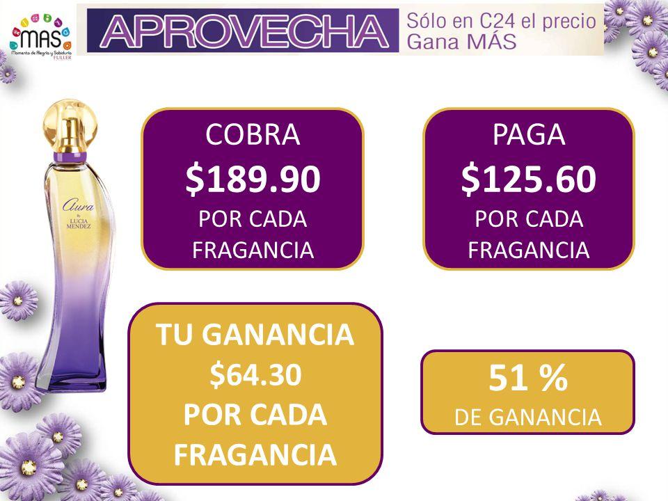 $189.90 $125.60 51 % COBRA PAGA TU GANANCIA $64.30 POR CADA FRAGANCIA