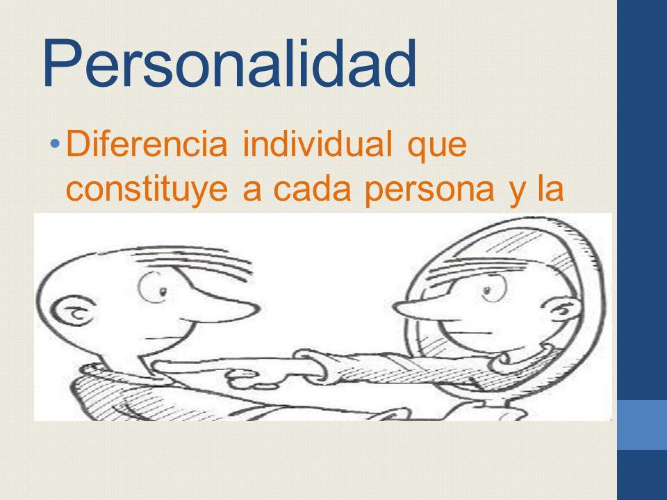 Personalidad Diferencia individual que constituye a cada persona y la distingue de otra.