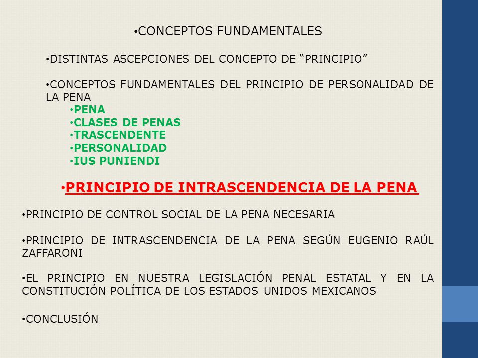 PRINCIPIO DE INTRASCENDENCIA DE LA PENA
