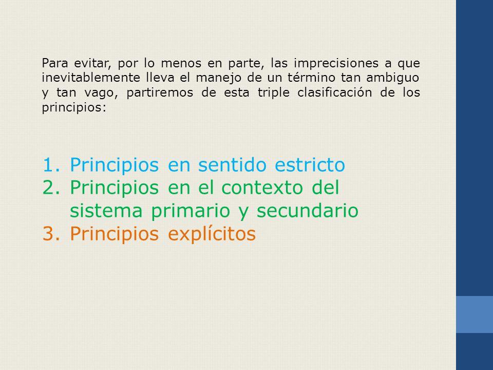 Principios en sentido estricto