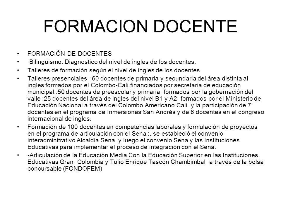 FORMACION DOCENTE FORMACIÓN DE DOCENTES