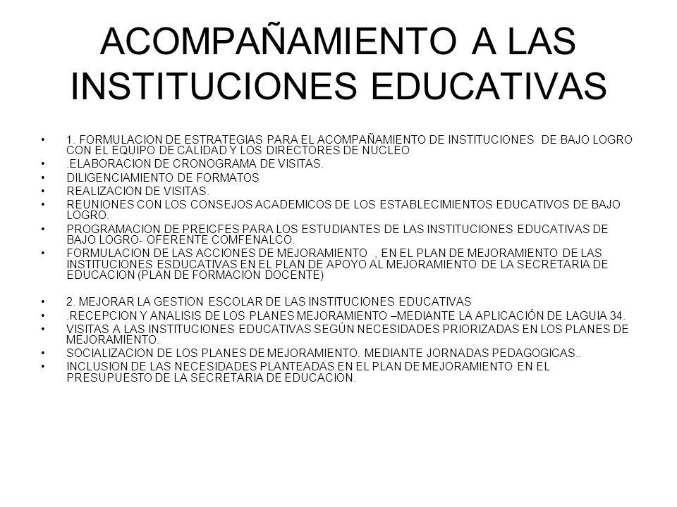 ACOMPAÑAMIENTO A LAS INSTITUCIONES EDUCATIVAS
