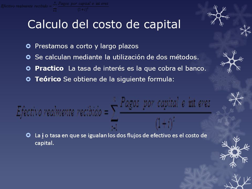 Calculo del costo de capital
