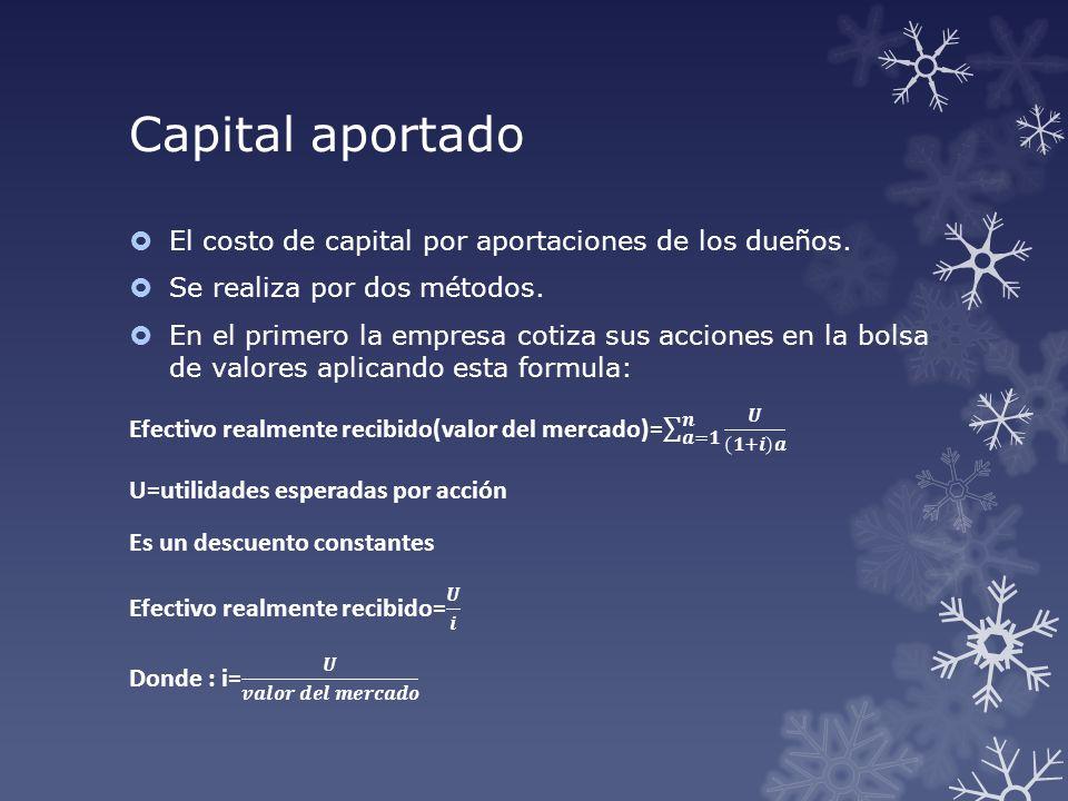 Capital aportado El costo de capital por aportaciones de los dueños.