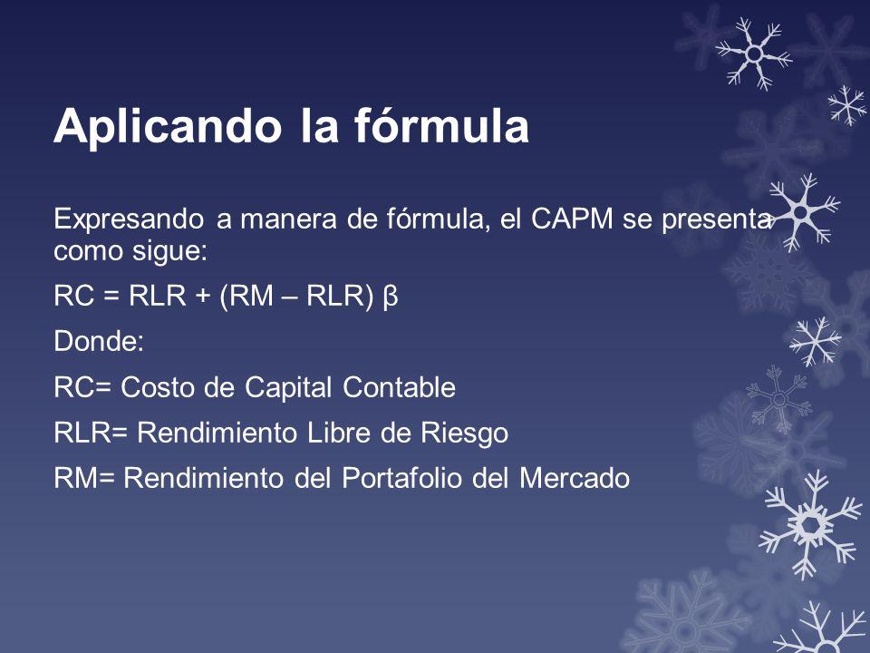 Aplicando la fórmula Expresando a manera de fórmula, el CAPM se presenta como sigue: RC = RLR + (RM – RLR) β.