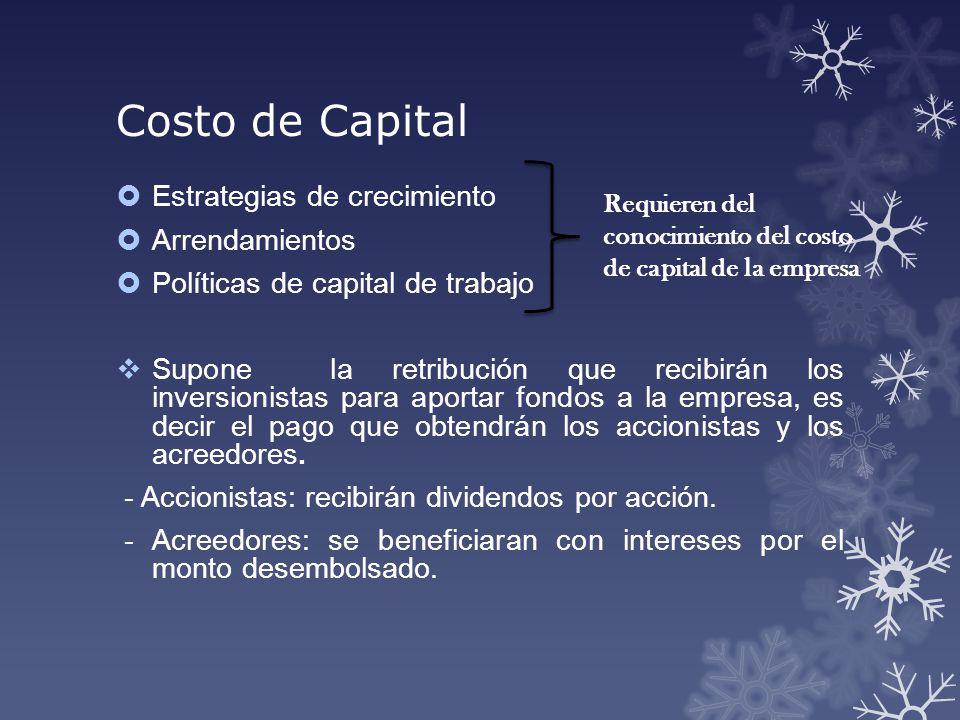 Costo de Capital Estrategias de crecimiento Arrendamientos