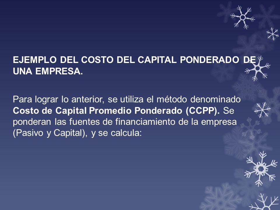 EJEMPLO DEL COSTO DEL CAPITAL PONDERADO DE UNA EMPRESA