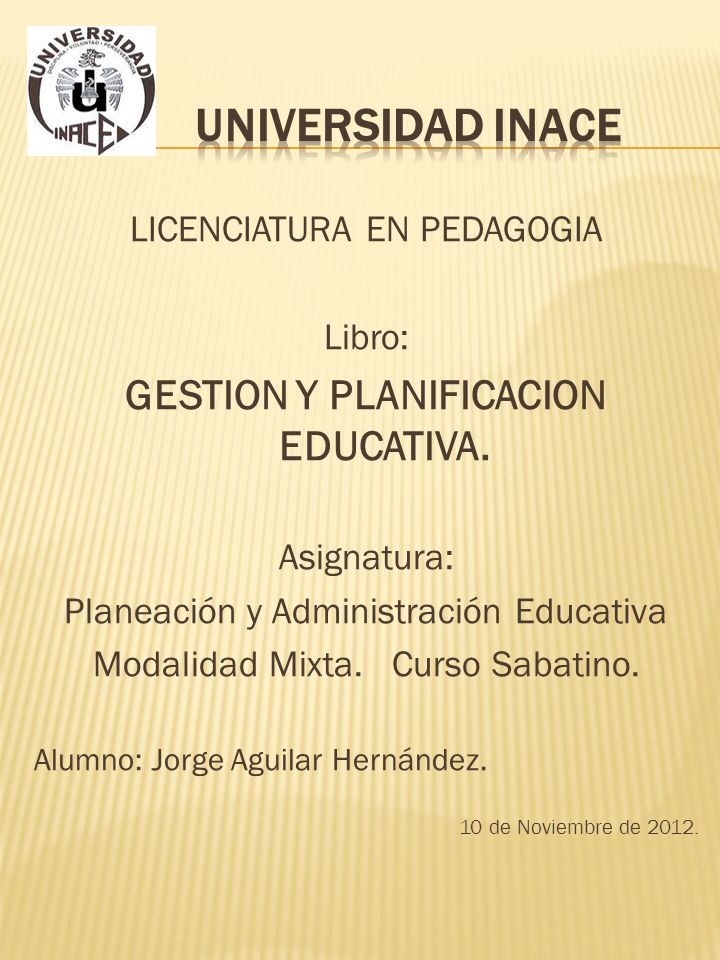 GESTION Y PLANIFICACION EDUCATIVA.