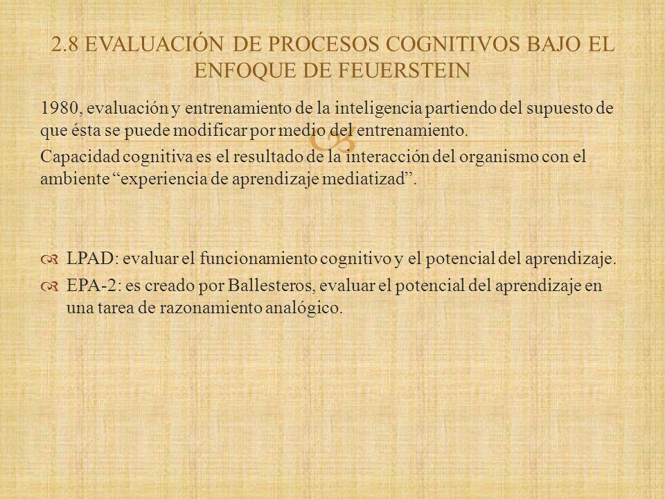 2.8 EVALUACIÓN DE PROCESOS COGNITIVOS BAJO EL ENFOQUE DE FEUERSTEIN