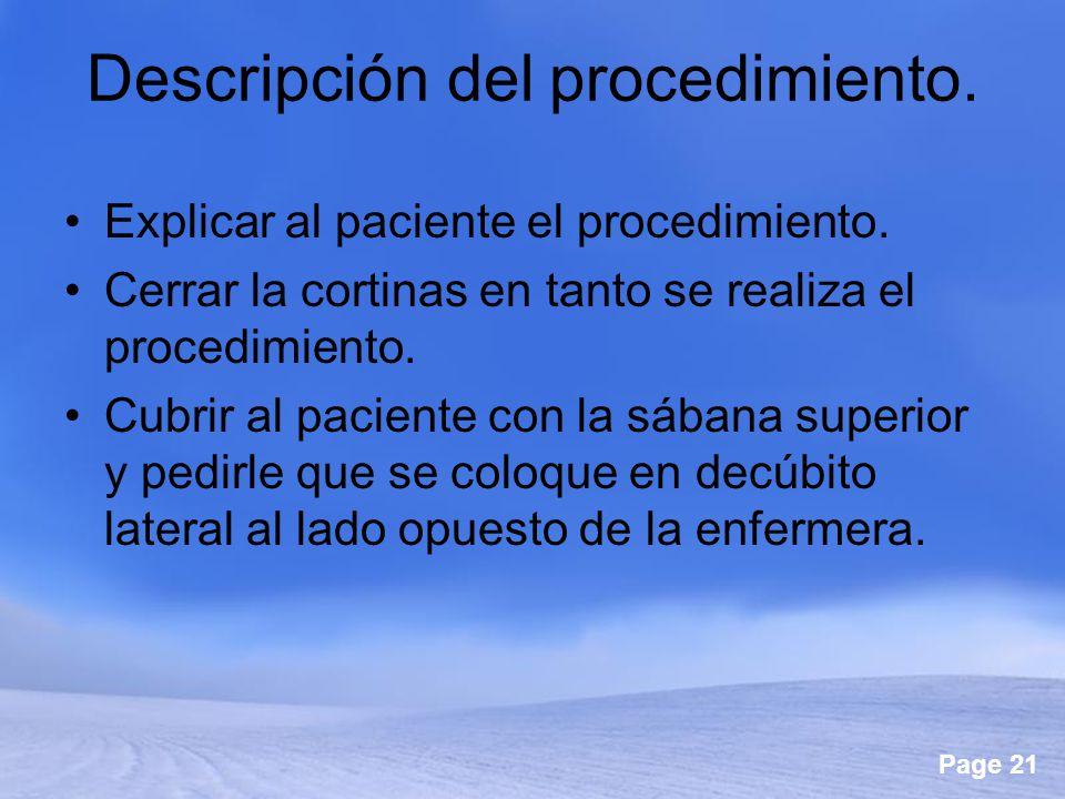 Descripción del procedimiento.