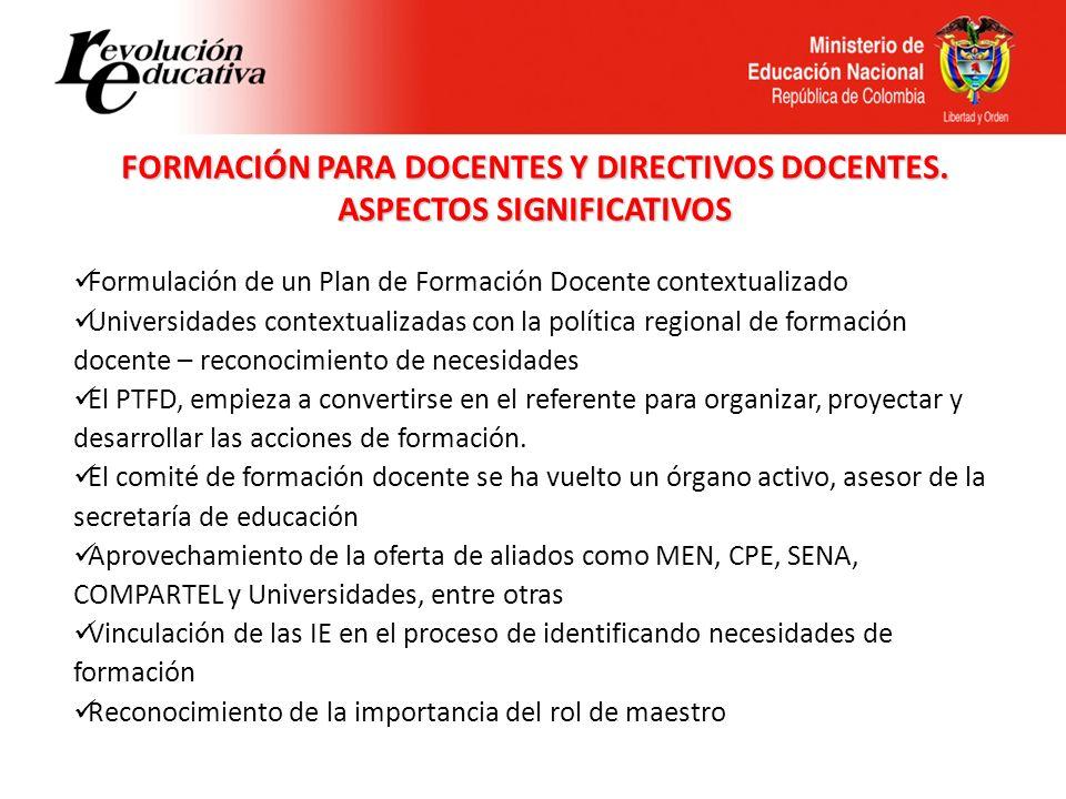 FORMACIÓN PARA DOCENTES Y DIRECTIVOS DOCENTES. ASPECTOS SIGNIFICATIVOS