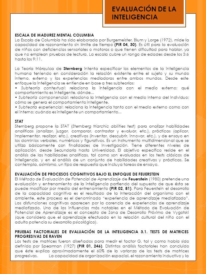 EVALUACIÓN DE LA INTELIGENCIA ESCALA DE MADUREZ MENTAL COLUMBIA