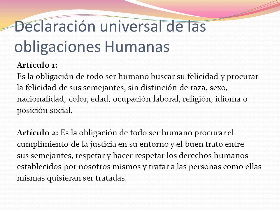Declaración universal de las obligaciones Humanas