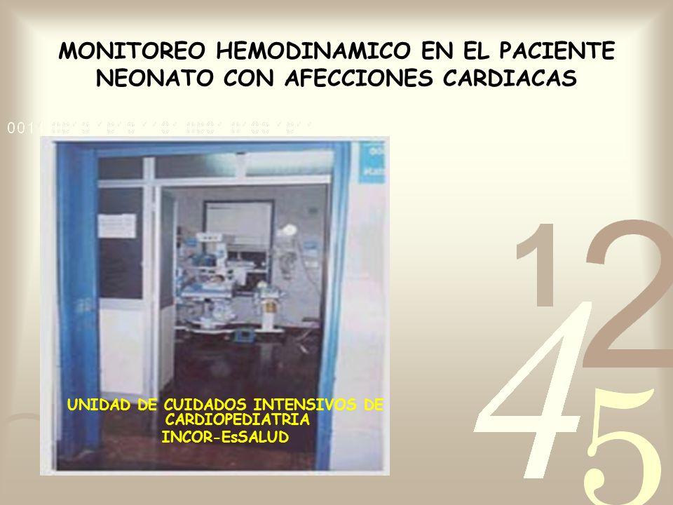 MONITOREO HEMODINAMICO EN EL PACIENTE NEONATO CON AFECCIONES CARDIACAS