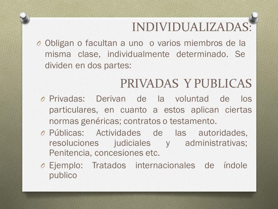 INDIVIDUALIZADAS: PRIVADAS Y PUBLICAS