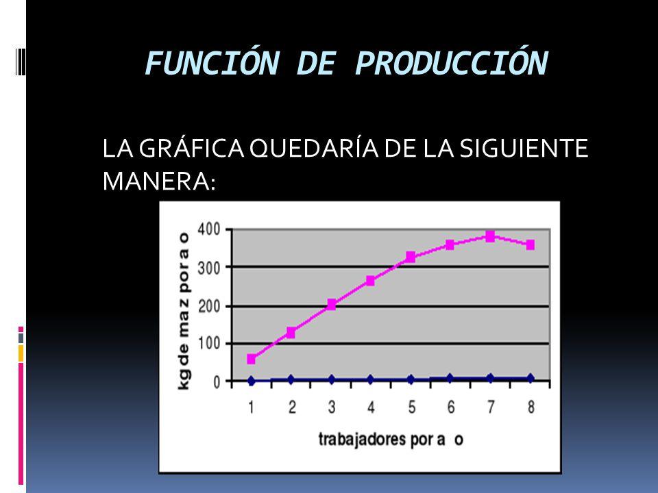FUNCIÓN DE PRODUCCIÓN LA GRÁFICA QUEDARÍA DE LA SIGUIENTE MANERA:
