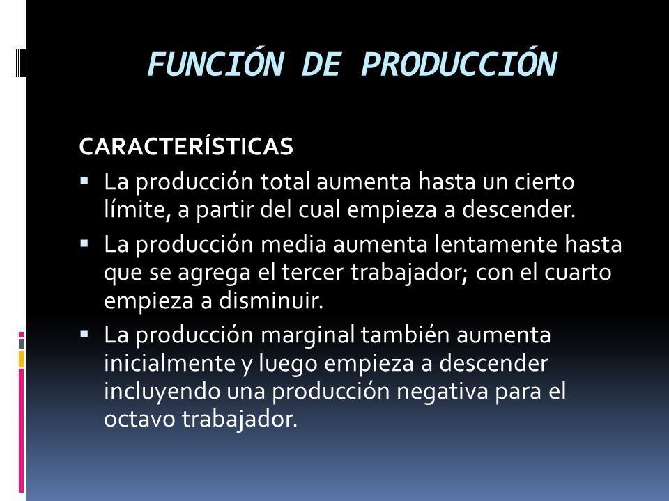 FUNCIÓN DE PRODUCCIÓN CARACTERÍSTICAS