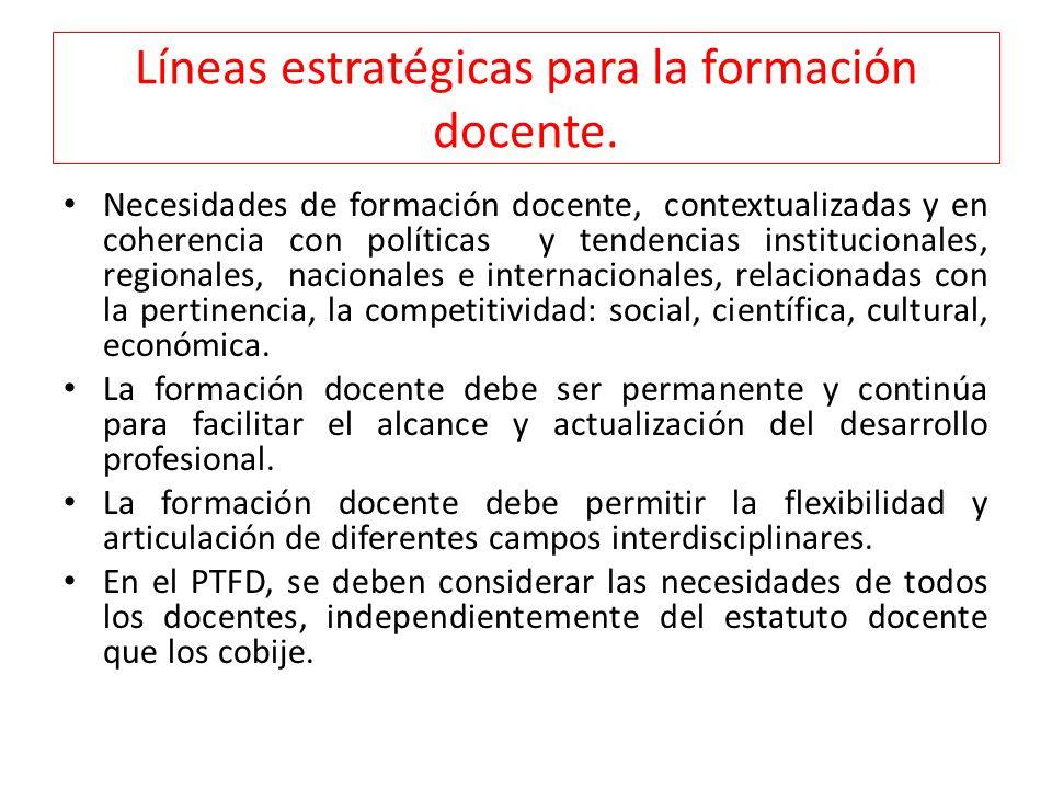 Líneas estratégicas para la formación docente.