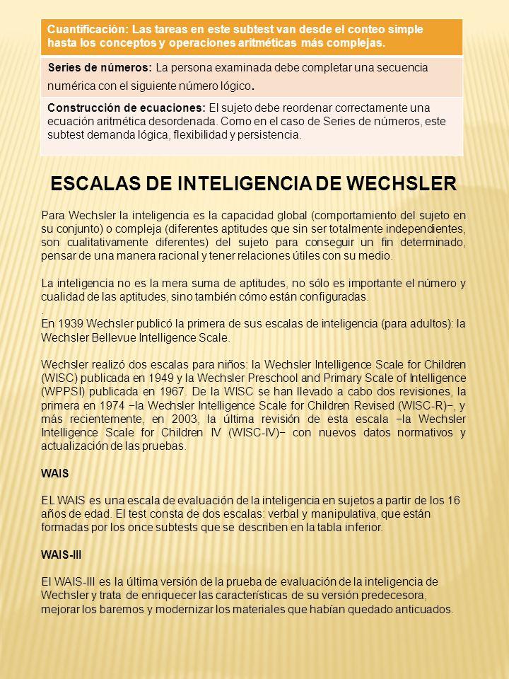 ESCALAS DE INTELIGENCIA DE WECHSLER