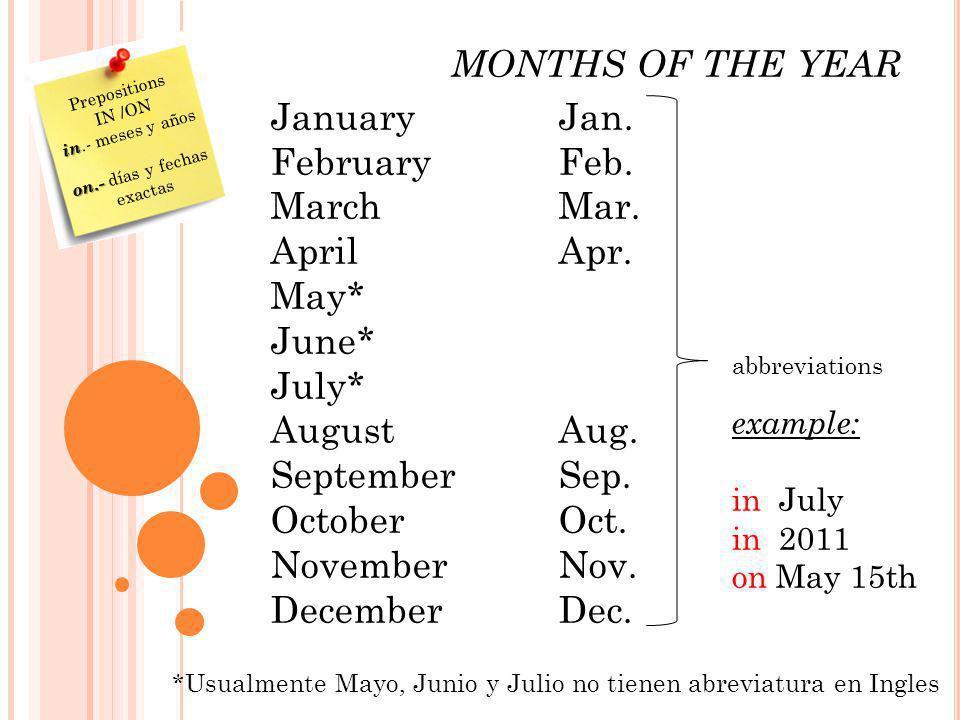 on.- días y fechas exactas
