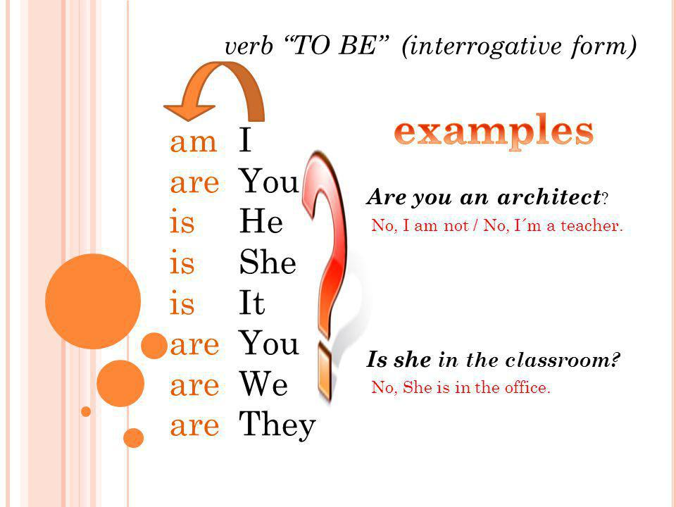 examples am are is I You He She It We They