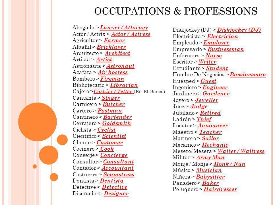 OCCUPATIONS & PROFESSIONS
