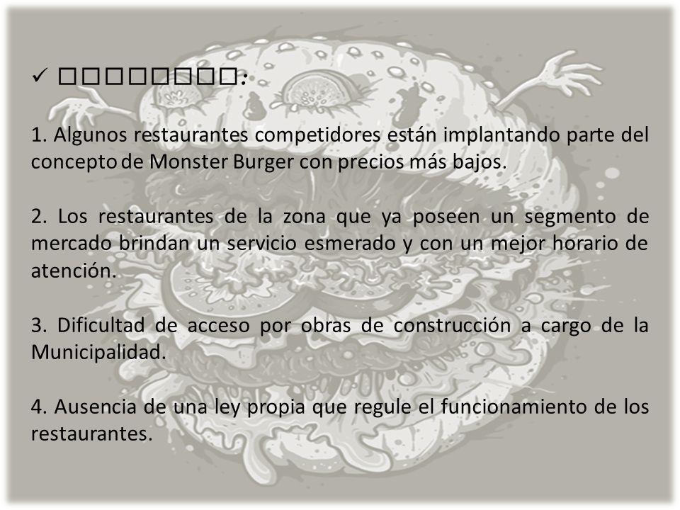 AMENAZAS: 1. Algunos restaurantes competidores están implantando parte del concepto de Monster Burger con precios más bajos.