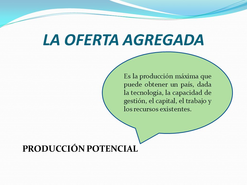LA OFERTA AGREGADA PRODUCCIÓN POTENCIAL