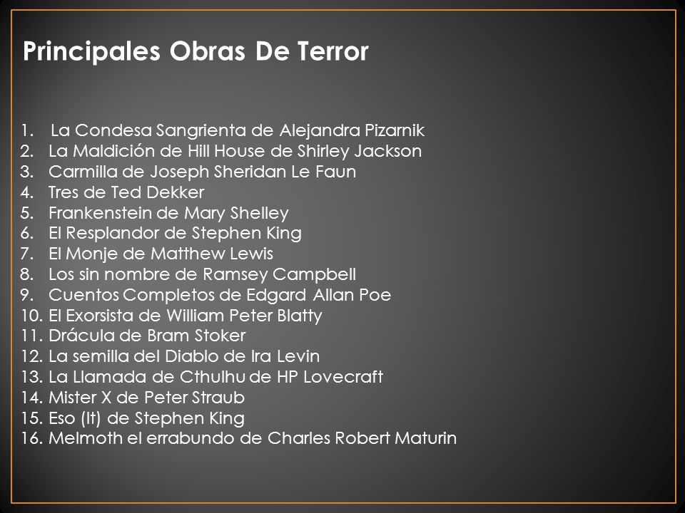 Principales Obras De Terror