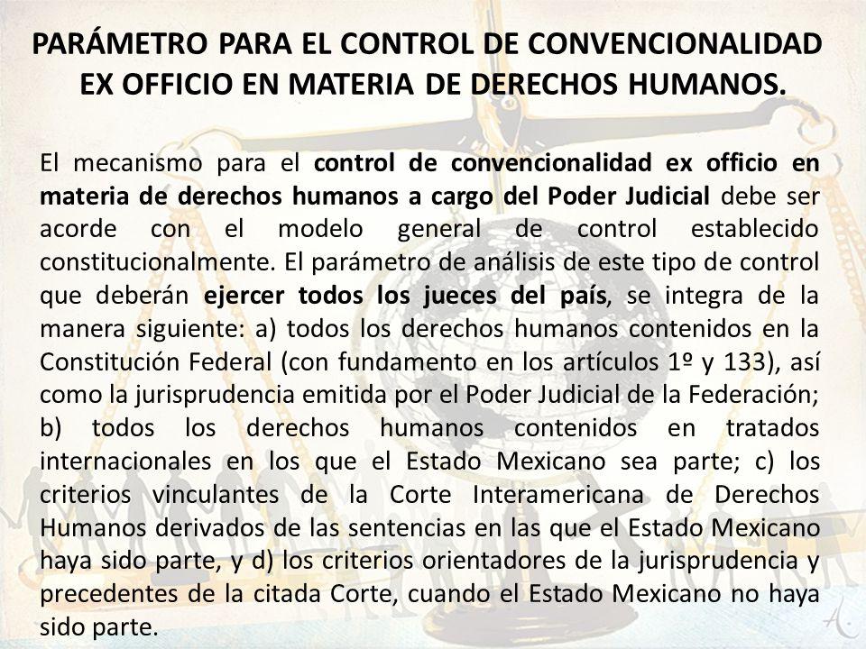 PARÁMETRO PARA EL CONTROL DE CONVENCIONALIDAD