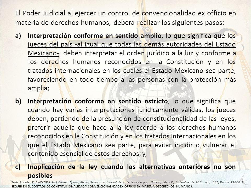 El Poder Judicial al ejercer un control de convencionalidad ex officio en materia de derechos humanos, deberá realizar los siguientes pasos: